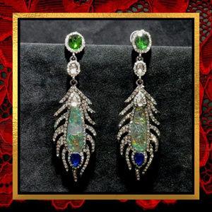 New Long Rhinestone Peacock Earrings  #756